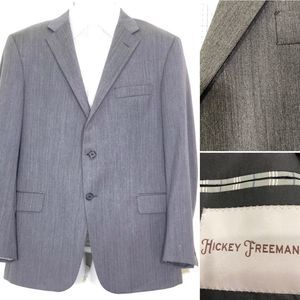 Hickey Freeman Grey Herringbone Milburn Sport Coat